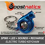 Boostnatics Rechargeable Electric Electronic Turbo Keychain with Sounds + LED! - Blue NEW Version 5 (V5)