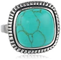 Sterling Silver Turquoise Square Cushion Ring, Size 7 from Athra NJ, Inc.