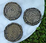 Miniature Dollhouse FAIRY GARDEN / 3 Cement Tree Stump Pavers Stepping Stones