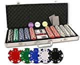 Da Vinci Set of 500 11.5-Gram Poker Chips with Aluminum Case, 3 Dealer Buttons, 2 Decks of Playing Cards, 5 Dice, and 2 Cut Cards