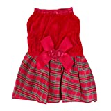 Bow-knot Christmas Pet Costume Plaid Skirt Dog Cat Clothes Santa Red Dress