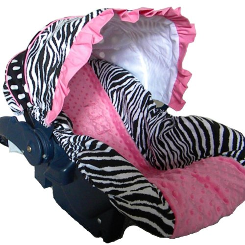 Great Features Of Infant Car Seat Cover, Baby Car Seat Cover, Slip Cover- Zebra, Dots and Hot Pink M...