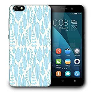 Snoogg Blue Leaves Printed Protective Phone Back Case Cover For Huawei Honor 4X