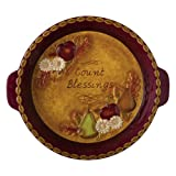 Grasslands Road Home Again Count Blessings Daisy and Bountiful Fruit Pie Plate with Handles