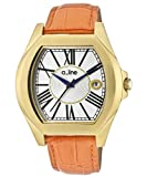 a_line Women's 80008-YG-02-OR Adore Orange/Goldtone Leather Watch