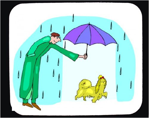 Buy Mouse Pad with man, humans, human, body, umbrella, female, individuals, people, individual, shitzu, rain, pet, persons, person, dog