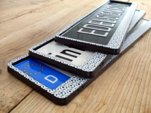 Registration Plate Holder 2x KICK Number Plate Carrier incl. 4 x CHROME valve caps + screws
