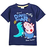 Boys Short Sleeve Peppa Pig Embroidery,navy,6y