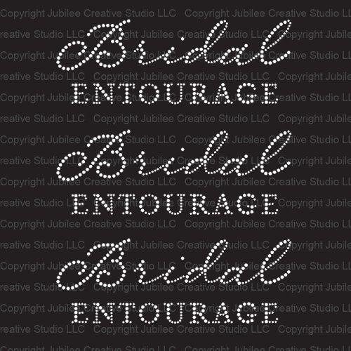 Set of 3 Bridal Entourage Iron On Rhinestone Crystal T-shirt Transfer by Jubilee Rhine…