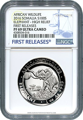 SO 2016 Somalia Elephant High Relief NGC PF69 FIRST RELEASES - ONLY 1000 MINTED PR-69