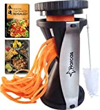 Premium Spiralizer - Harcas Spiral Vegetable Slicer - The BEST SELLING PREMIUM BRAND Courgette Noodle Maker - Highest Quality Japanese Blades - 2 Julienne Sizes - Package Includes - Cleaning Brush, The Secrets of the Chinese Chefs eBook & the Indian Chef eBook Recipes