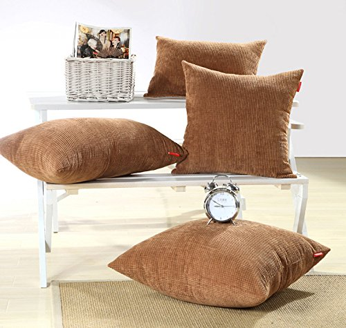 Brown Corduroy Throw Pillow : MochoHome Corduroy Decorative Solid Square Throw Pillow Cover Case Pillowcase Cushion Sham - 18 ...