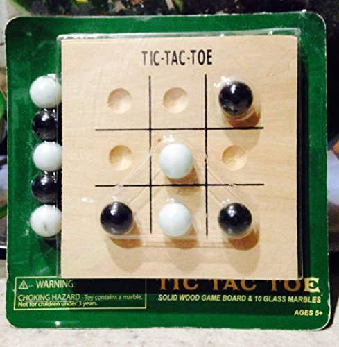Tic Tac Toe Solid Wood Game Board & 10 Glass Marbles