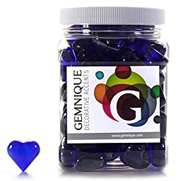 Gemnique Decorative Glass Shapes - Hearts (Cobalt Blue Luster, 48 oz.)