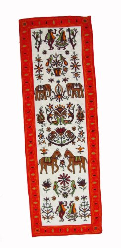 "Hand Knitted Tapestry Runner Wall Hanging Throw India 58"" X 19"" Free Shipping"