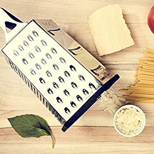 6-Sided Box Grater, Essential for Grating Cheese, Vegetables and Parmesan - Made from Premium Stainless Steel from maison maison