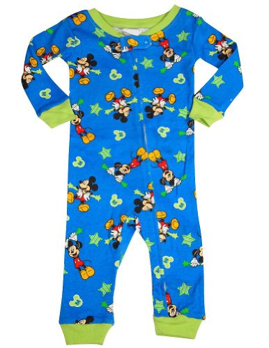Disney - Baby Boys Long Sleeve Mickey Mouse Coverall, Blue 34460-24Months