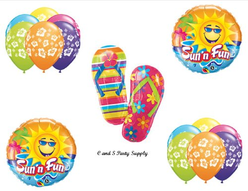 Tropical Flip Flop Luau Birthday Party Balloons Decorations Supplies front-1036413