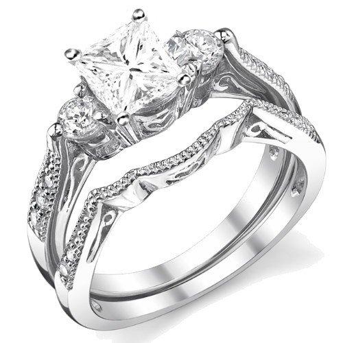 0.58 Carat Antique Bridal Sets Princess cut Diamond on 14K White gold