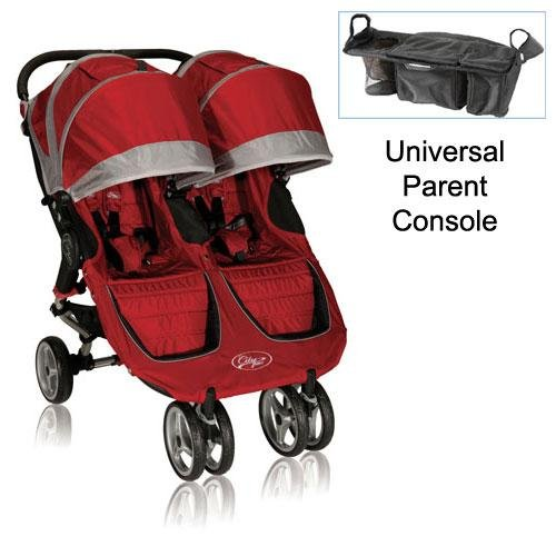 Baby-Jogger-12236-City-Mini-Double-Stroller-in-Crimson-Gray-with-Parent-Console