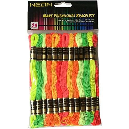 [해외]아이리스 1500 공예 스레드 팩 (24 팩), 8.75에 버스 정류장, 네온/Iris 1500 Craft Thread Pack (24 Pack), 8.75 yd, Neon