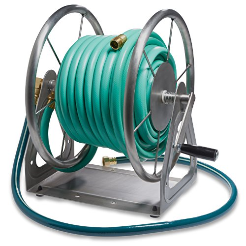 Liberty Garden Products 703-S2 3-In-1 200-Foot Capacity Multi-Purpose Steel Garden Hose Reel Stainless (Stainless Steel Hose Reel compare prices)
