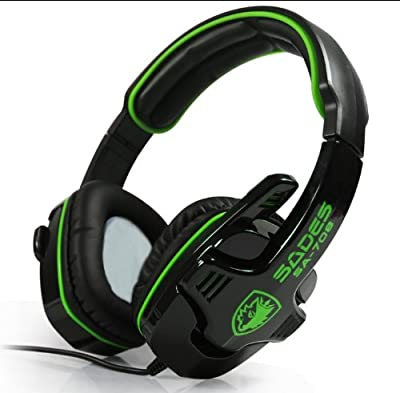 Andget® SADES SA-708 3.5mm Stereo Headset Headphones Gaming Headset with Microphone Black / Green