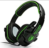 SADES SA-708 Stereo Headphone Computer Gaming Headset Headphone Earset Earphone with Microphone Black / Green