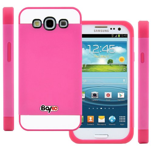 >>  Bayke Brand / Samsung Galaxy Grand I9080 & Galaxy Grand Duos I9082 Hybrid TPU 2PC Layered Hard Case Rubber Bumper Armor Case with Inner Shell (Hot Pink)