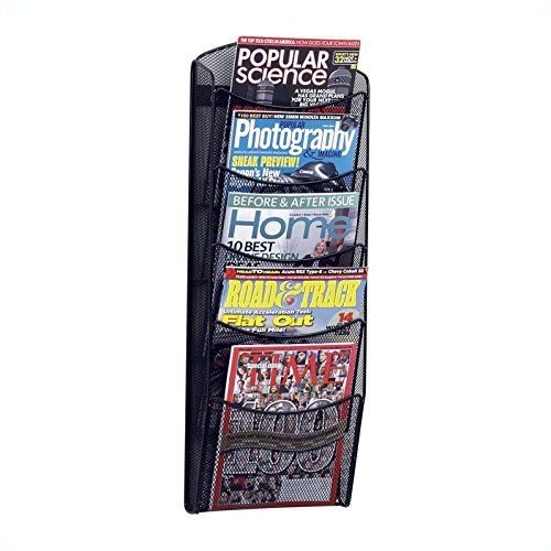 Safco Products 5578BL Onyx Mesh Magazine Wall Rack, 5 Pocket , Black