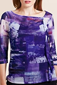 Per Una 3/4 Sleeve Photographic Print Top [T62-8413I-S]