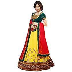 Resham Fabrics Yellow Embroidered Semi Stitched Lehenga Choli