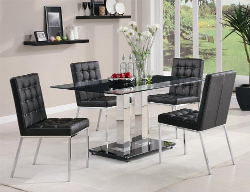 Coaster Dining Table with Tempered Glass Top in Chrome  : 51S2KXf5DPL from www.furniturendecor.com size 500 x 385 jpeg 41kB