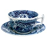 Spode Blue Italian Earthenware Teacup and Saucer ~ Royal Worcester