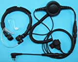 SECUDA Military Grade Tactical Throat Mic Headset/Earpiece with BIG Finger PTT for Motorola Radios AXV5100 CLS1110 CP125 2-pin