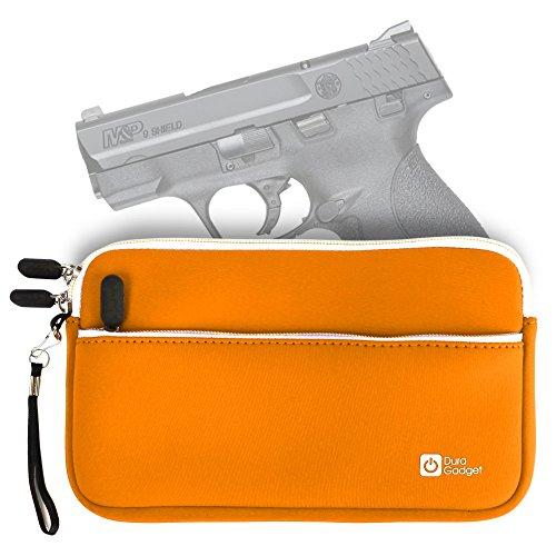 DURAGADGET S&W M&P9 SHIELD Handgun Case – Bold Orange 7 Inch Water & Scratch-Resistant Neoprene Zip Case for S&W M&P9 SHIELD Pistol – Stay Protected In Style!