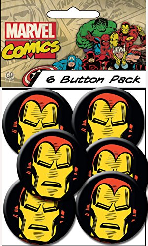 "C&D Visionary Marvel Comics Retro Iron Man Head 1.25"" Button (6-Piece)"