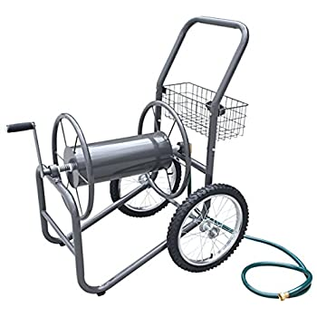 Liberty Garden Products 880-2 Industrial 2-Wheel Pneumatic Tires Garden Hose Reel Cart, Holds 300-Feet of 5/8-Inch Hose - Bronze