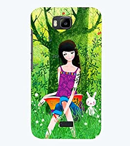 Printvisa Premium Back Cover Sweet Girl Reading In A Forest Design For Huawei Honor Bee::Huawei Y 5C