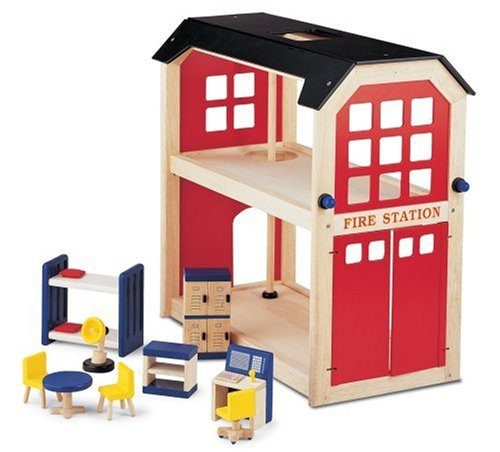 Pintoy Wooden Fire Station  &  Accessories