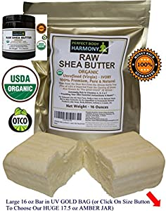 Real Certified ORGANIC RAW SHEA BUTTER * PREMIUM Unrefined African IVORY * The Best You Will Ever BUY - GUARANTEED! - 16.0 oz LARGE BAR in GOLD UV Protective Bag (Or Choose Our 17.5 oz HUGE JAR) * From Perfect Body Harmony * This Is The Real Thing - Don't Be Fooled By Imposters!