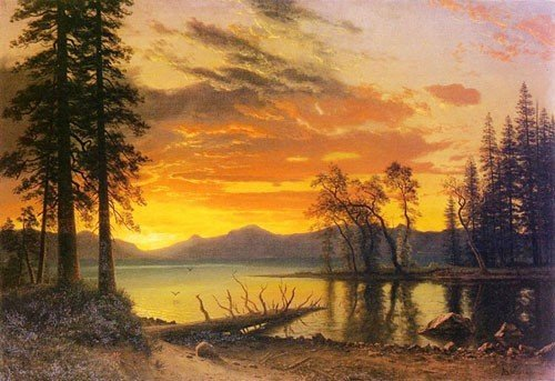 Oil Painting: Sunset over the River: Albert Bierstadt Hand-Painted Art