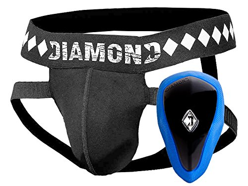 Diamond MMA - 4-Strap Jock Strap With Built-in Athletic Cup System for Sports, Medium
