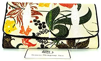 100% DOUBLE EYEs SKIN GENUINE STINGRAY LEATHER CLUTCH TRIFOLD WALLET BUTTERFLY HIBISCUS FLOWER in WHITE NEW
