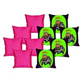 meSleep 5 Pc Elephant Digital Cushion Cover and 5 Pc Pink Quilted Cushion Cover