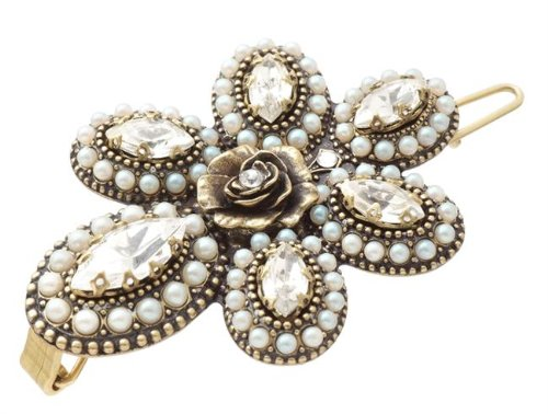 Michal Negrin Amazing Hair Brooch Embellished with Marquise Crystals, Solid Rose in the Middle, Pearl and White Swarovski Crystals 3