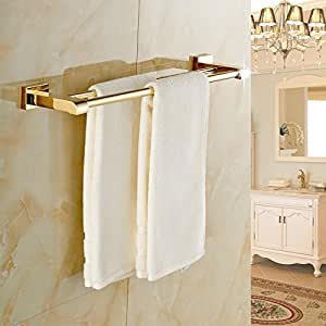 Unique design bathroom double towel bars wall mounted towel rack gold