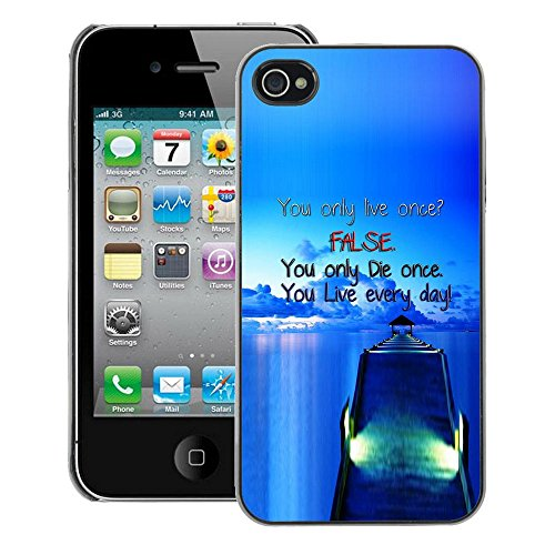 A-type Colorful Printed Hard Protective Back Case Cover Shell Skin for iPhone 4 / 4S ( Dock False Blue Live Die Ship Sea Ocean)