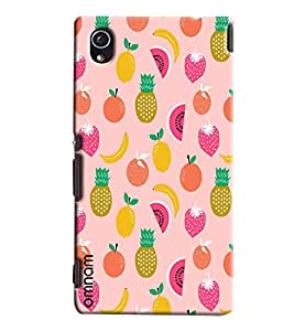Omnam Pink Fruit Pattern Printed Designer Back Cover Case For Sony Xperia M4