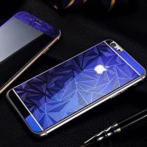 ScratchfreeShift Electroplated Mirror Finish Glossy Brushed Metal Effect Coloured 3D Diamond Front & Back Tempered Glass For Apple iPhone 6 plus,6+